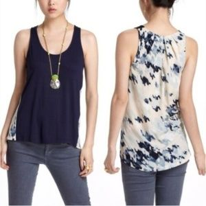 Anthropologie Deletta Mixed Media Top Blue Small